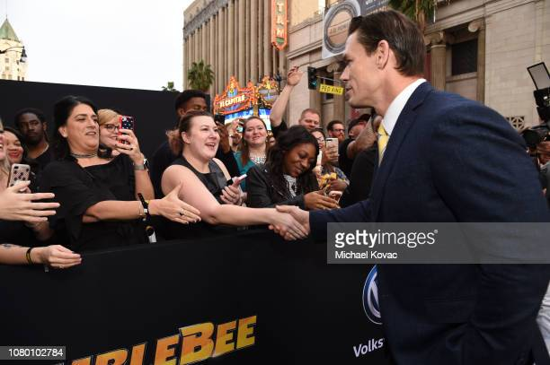 John Cena attends the global premiere of Paramount Pictures' film 'Bumblebee' on December 09 2018 in Hollywood California