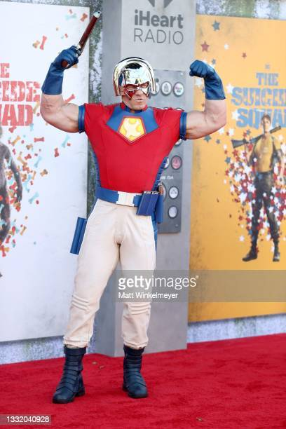 """John Cena attends the Warner Bros. Premiere of """"The Suicide Squad"""" at Regency Village Theatre on August 02, 2021 in Los Angeles, California."""