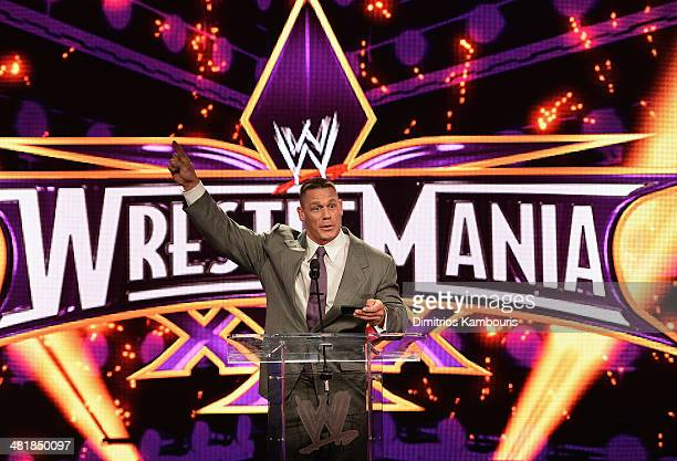 John Cena attends the WrestleMania 30 press conference at the Hard Rock Cafe New York on April 1 2014 in New York City