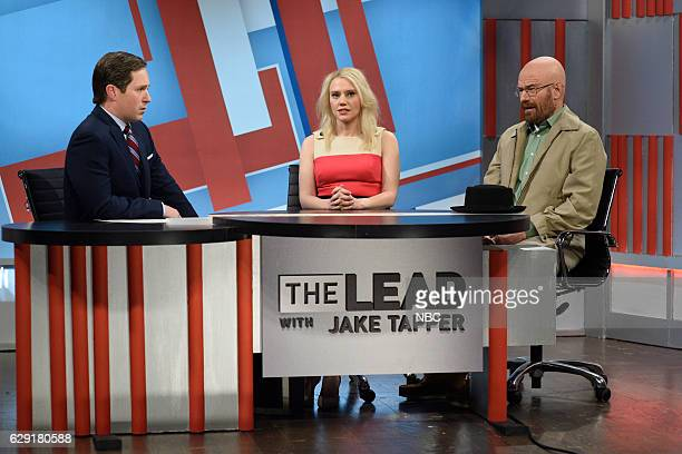 LIVE John Cena Episode 1713 Pictured Beck Bennett as Jack Tapper Kate McKinnon as Kellyanne Conway and Bryan Cranston as Walter White during The Lead...