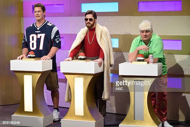 LIVE 'John Cena' Episode 1713 Pictured John Cena as Rob Gronkowski Alex Moffat as Conor McGregor and Bobby Moynihan as John Daly during the 'Where'd...