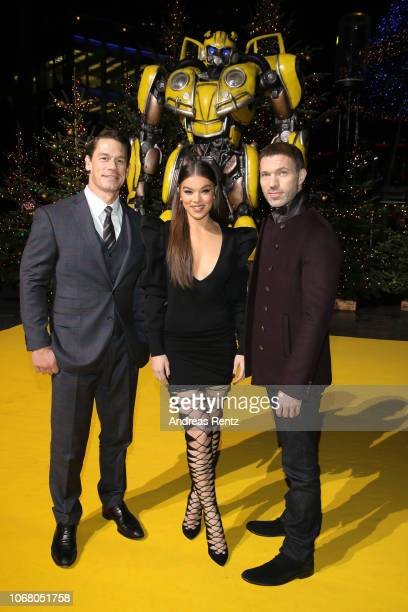 John Cena Hailee Steinfeld and director Travis Knight attend a photo call in support of Paramount Pictures film a Buumblebee at Sony Centre on...