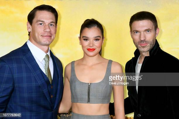 John Cena Hailee Steinfeld and director Travis Knight attend the Bumblebee UK Screening at Cineworld Leicester Square on December 05 2018 in London...