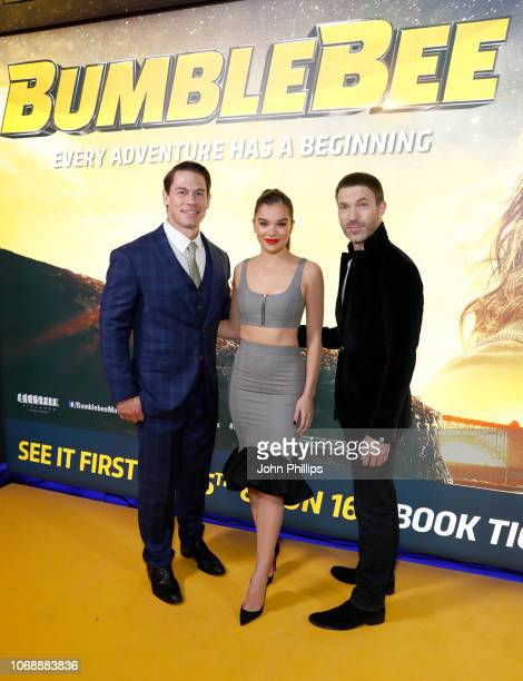 John Cena Hailee Steinfeld and Travis Knight attend a special screening of Paramount Pictures' film 'Bumblebee' at Cineworld Leicester Square on...