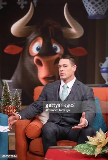 John Cena is seen on the set of 'Despierta America' to promote the film 'Ferdinand' at Univision Studios on December 8 2017 in Miami Florida