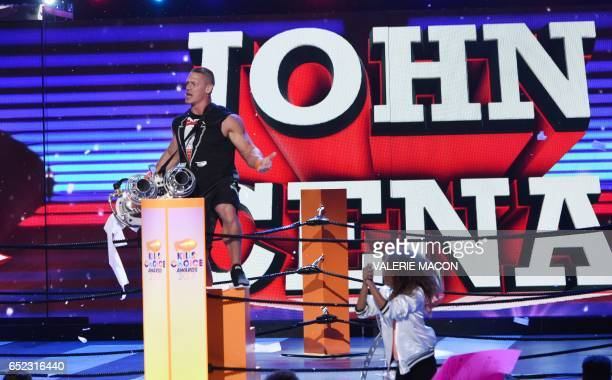 John Cena on stage at the 30th Annual Nickelodeon Kids' Choice Awards March 11 at the Galen Center on the University of Southern California campus in...
