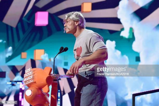 John Cena speaks onstage at Nickelodeon's 2018 Kids' Choice Awards at The Forum on March 24 2018 in Inglewood California