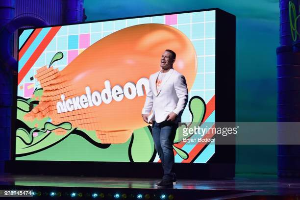 John Cena speaks onstage at the Nickelodeon Upfront 2018 at Palace Theatre on March 6 2018 in New York City