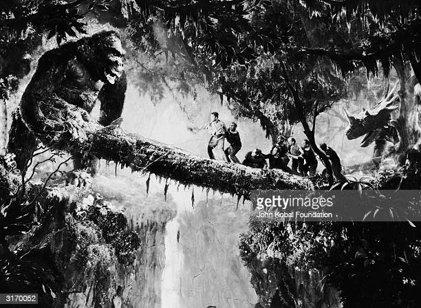 John Cerisoli's model of the giant ape tries to shake the men off their precarious perch in a scene from the classic monster movie 'King Kong'