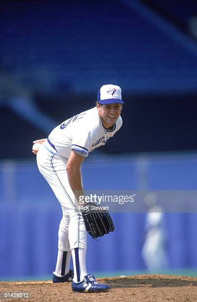 John Cerutti of the Toronto Blue Jays pitches during a game at Exhibition Stadium in Toronto Ontario Canada John Cerutti played for the Toronto Blue...