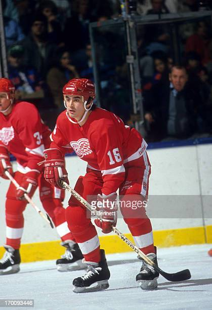 John Chabot of the Detroit Red Wings waits for the faceoff during an NHL game against the New York Islanders on November 7 1987 at the Nassau...