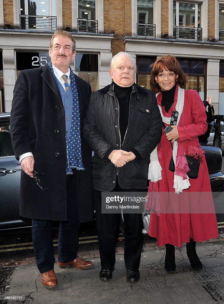 John Challis, Sir David Jason and Sue Holderness attends the funeral of actor Roger Lloyd-Pack at St Paul's Church on February 13, 2014 in London, England.