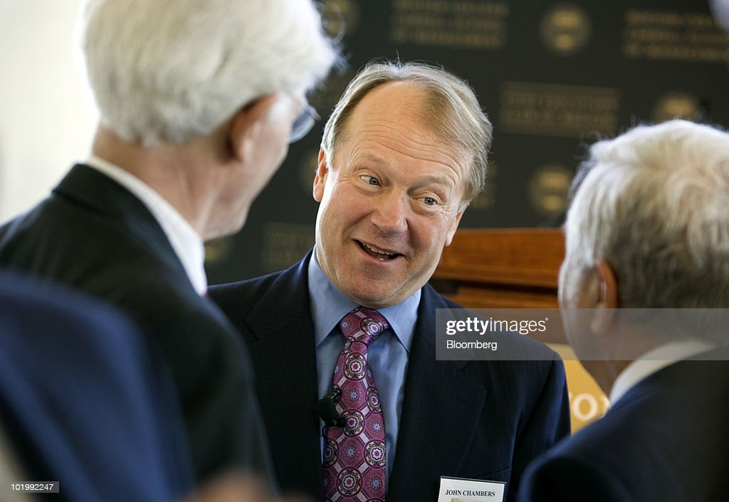 John Chambers of Cisco Speaks At Boston College Chief Executives' Club : News Photo