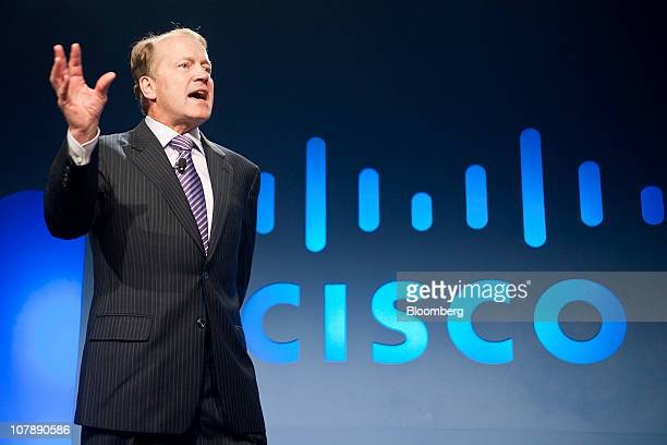 John Chambers chief executive officer of Cisco Systems Inc speaks during the 2011 International Consumer Electronics Show in Las Vegas Nevada US on...