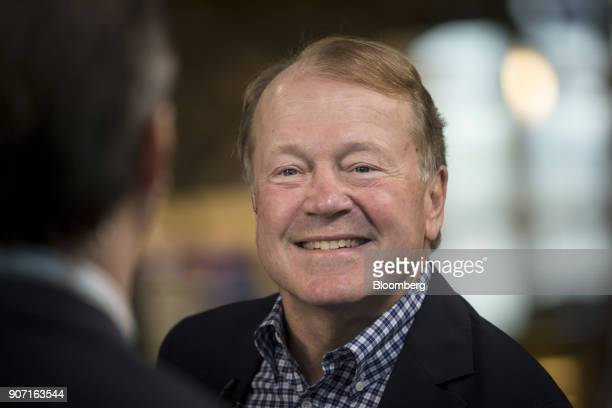 John Chambers chief executive officer of JC2 Ventures LLC smiles during a Bloomberg Technology interview in San Francisco California US on Tuesday...