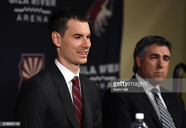 John Chayka of the Arizona Coyotes addresses the media during a press conference introducing him as the new general manager for the team as executive...