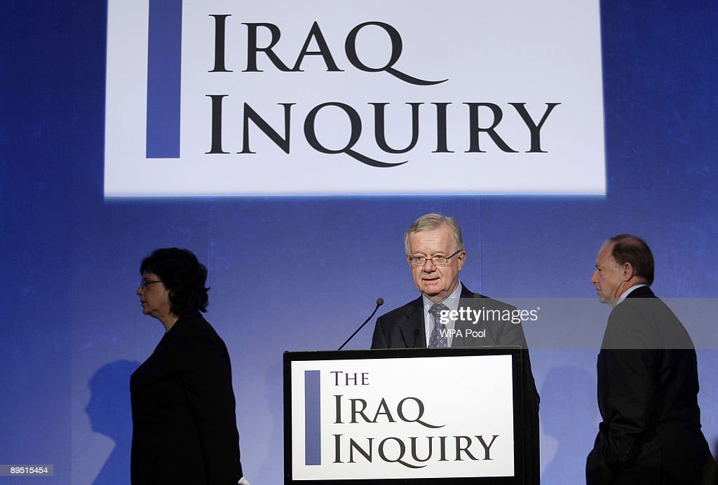 John Chilcot, (C) chairman of the Iraq Inquiry, arrives with Baroness Usha Prashar, (L) and Roderic Lyne, to outline the terms of reference for the inquiry and explain the panel's approach to its work during a news conference to launch it at the QEII conference centre on July 30, 2009 in London. The head of a British inquiry into the Iraq war said Thursday he will call former Prime Minister Tony Blair to testify about the run-up to the conflict, but acknowledged it is unlikely that senior Bush administration officials would give evidence.