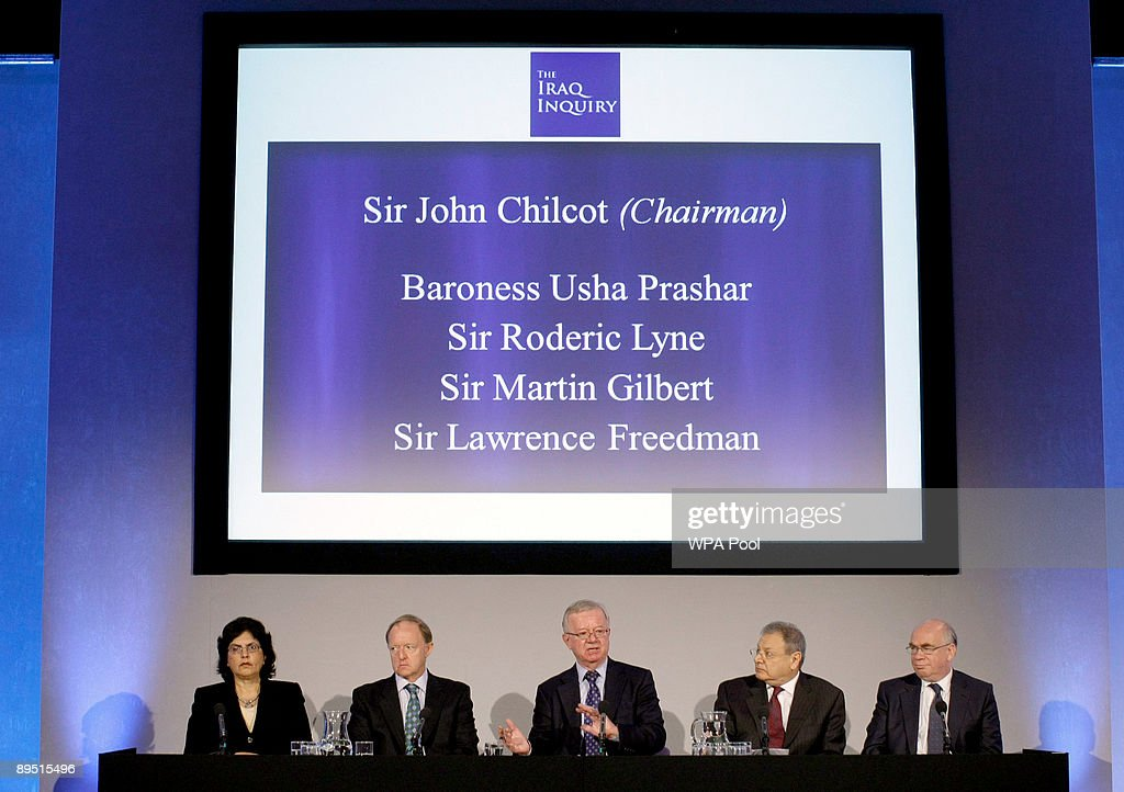 John Chilcot, (C) chairman of the Iraq Inquiry, sits with committee members Baroness Usha Prashar, (L), Roderic Lyne, (2ndL), Martin Gilbert, (2R) and Lawrence Freedman, as he takes questions from journalists at a news conference to outline the terms of reference for the inquiry and explain the panel's approach to its work during a news conference to launch it at the QEII conference centre on July 30, 2009 in London. The head of a British inquiry into the Iraq war said Thursday he will call former Prime Minister Tony Blair to testify about the run-up to the conflict, but acknowledged it is unlikely that senior Bush administration officials would give evidence.