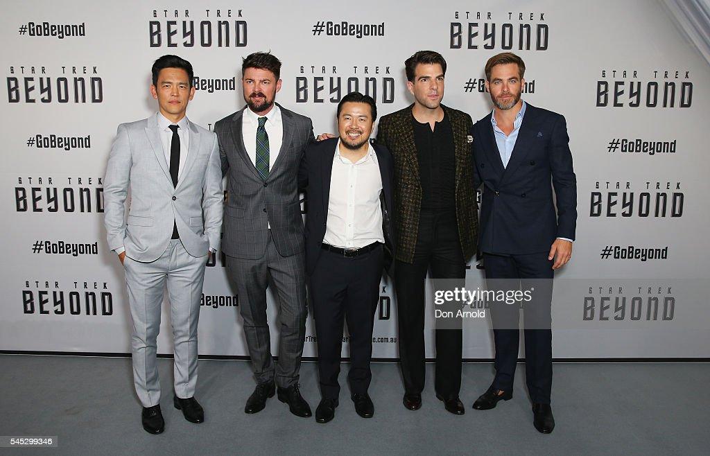 John Cho, Karl Urban, Justin Lin, Zachary Quinto and Chris Pine arrive ahead of the Star Trek Beyond Australian Premiere on July 7, 2016 in Sydney, Australia.