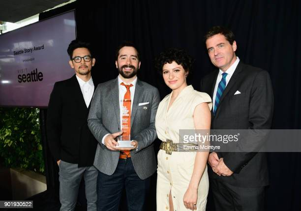 John Cho Matty Brown winner of the Seattle Story Award Alia Shawkat and President of Film Independent Josh Welsh pose onstage at the Film Independent...