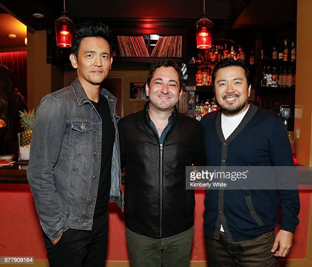 John Cho Scott Feinberg and Justin Lin stand together at the 'Star Trek Beyond' Silicon Valley Screening Series Event Hosted by The Hollywood...