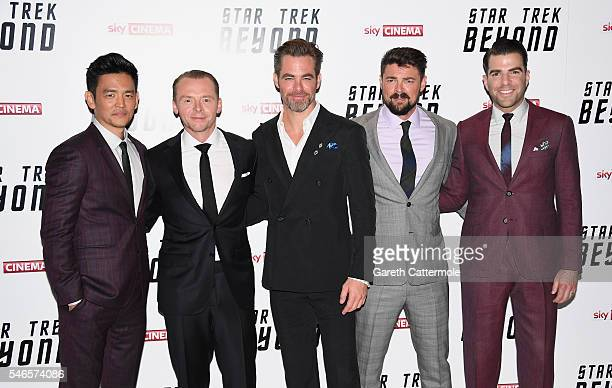 """John Cho, Simon Pegg, Chris Pine, Karl Urban and Zachary Quinto attend the UK Premiere of Paramount Pictures """"Star Trek Beyond"""" at the Empire..."""