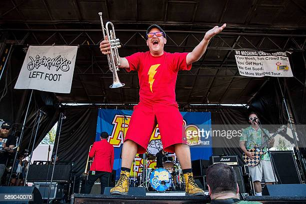 John Christianson and Aaron Barrett of Reel Big Fish performs at the Vans Warped Tour at White River Amphitheatre on August 12 2016 in Auburn...