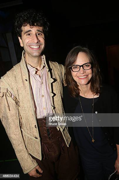 John Ciriani and Sally Field pose backstage at the hit musical Something Rotten on Broadway at The St James Theater on September 12 2015 in New York...