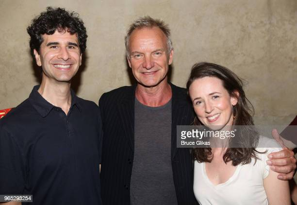 John Ciriani Sting and Kristen Sieh pose backstage at the hit musical The Band's Visit on Broadway at The Barrymore Theatre on May 31 2018 in New...