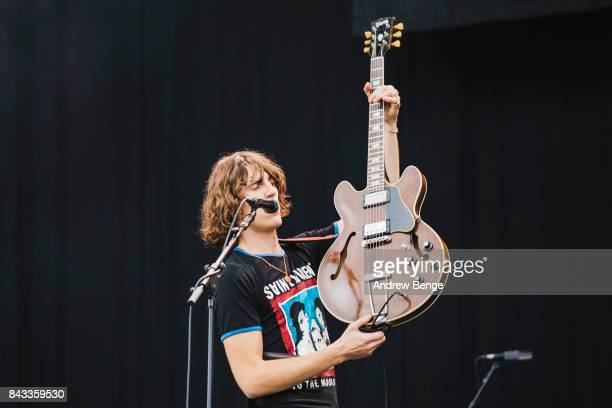 John Clancy of Judas perform on the main stage during day 2 at Leeds Festival at Bramhall Park on August 26, 2017 in Leeds, England.