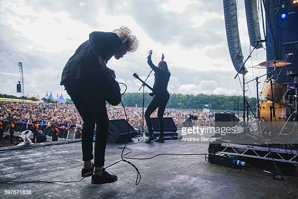 John Clancy of Judas performs on the Main Stage during day 3 of Leeds Festival 2016 at Bramham Park on August 28, 2016 in Leeds, England.