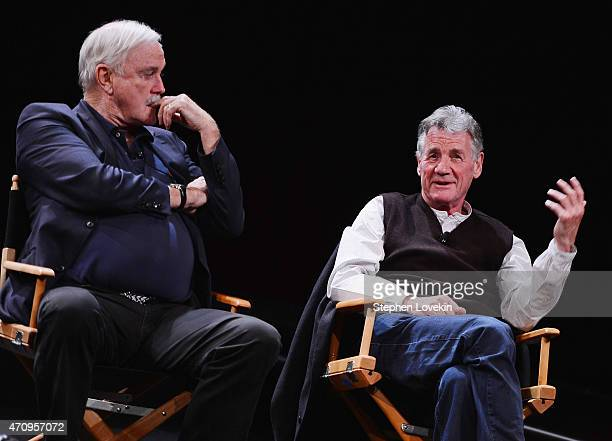 John Cleese and Michael Palin attend the Monty Python Press Conference during the 2015 Tribeca Film Festival at SVA Theater on April 24 2015 in New...