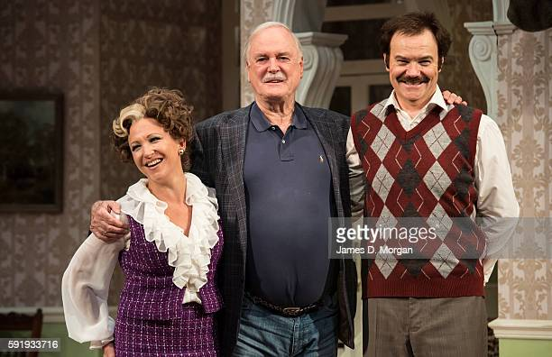 John Cleese who wrote the original BBC comedy series of Fawlty Towers with acotrs Blazey Best who plays Sybil and Stephen Hall who plays Basil during...
