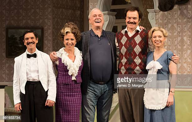 John Cleese who wrote the original BBC comedy series of Fawlty Towers with actors Syd Brisbane who plays Manuel Blazey Best who plays Sybil Stephen...