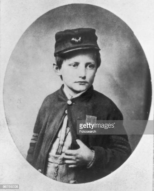John Clem aged 13 who served as a drummer boy in the Union Army in the American Civil War Location unknown USA circa 1864