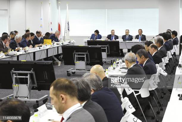 John Coates, chairman of the International Olympic Committee's coordination commission, attends a meeting in Tokyo on May 21 with the 2020 Tokyo...