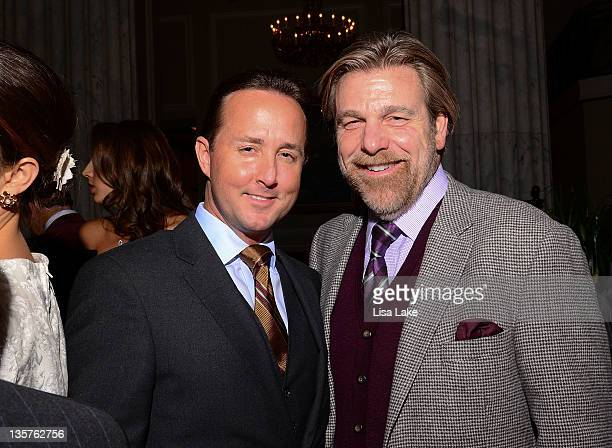 John Colabelli and Howard Eskin attend the Philadelphia Style Magazine cover event hosted by Melania Trump at Ritz Carlton Hotel on December 13 2011...