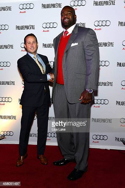 John Colabelli publisher of Philadelphia Style Magazine poses on the red carpet with former NFL player Tra Thomas during during Philadelphia Style...