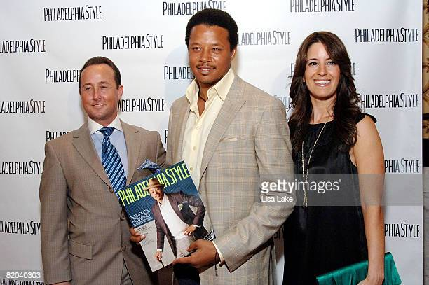John Colabelli Terrence Howard and Sarah Schaffer attend Philadelphia Style Magazine Summer Issue Launch Party on July 22 2008 in Philadelphia...