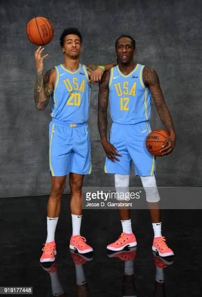 John Collins and Taurean Prince of the Atlanta Hawks pose for portraits before the Mountain Dew Kickstart Rising Stars Game during AllStar Friday...