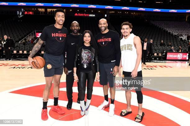 John Collins Coach Lloyd Pierce Taraji P Henson Vince Carter and Trae Young attend Atlanta Hawks Vs Boston Celtics game in partnership with 'What Men...