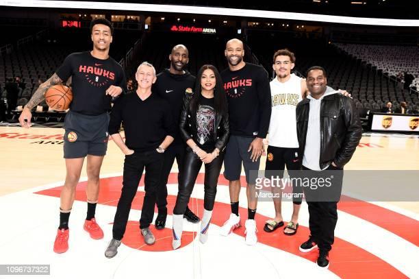 John Collins Director Adam Shankman Coach Lloyd Pierce Taraji P Henson Vince Carter Trae Young James Lopez attend Atlanta Hawks Vs Boston Celtics...