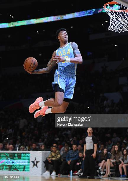 John Collins of Team USA dunks during the 2018 Mountain Dew Kickstart Rising Stars Game at Staples Center on February 16 2018 in Los Angeles...