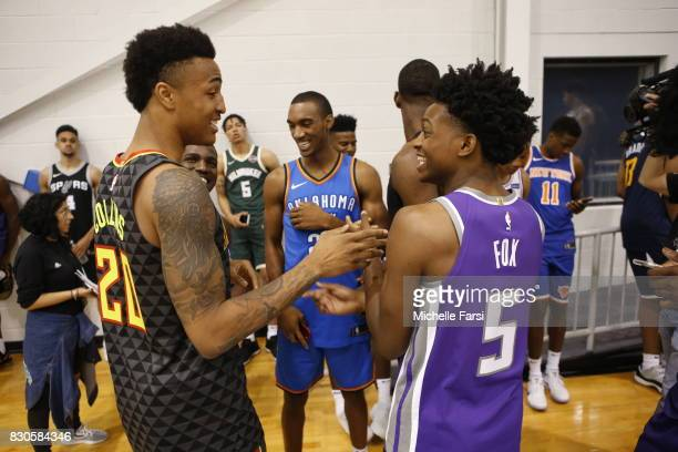 John Collins of the Atlanta Hawks and DeAaron Fox of the Sacramento Kings behind the scenes during the 2017 NBA Rookie Photo Shoot at MSG training...