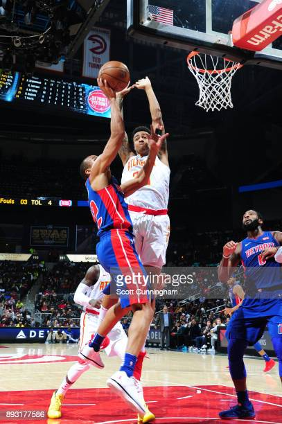 John Collins of the Atlanta Hawks defends against the Detroit Pistons on December 14 2017 at Philips Arena in Atlanta Georgia NOTE TO USER User...