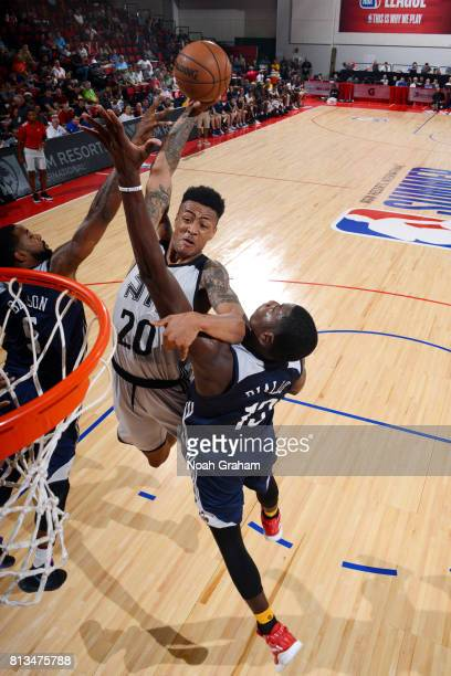 John Collins of the Atlanta Hawks goes for a dunk during the game against the New Orleans Pelicans during the 2017 Las Vegas Summer League on July 12...