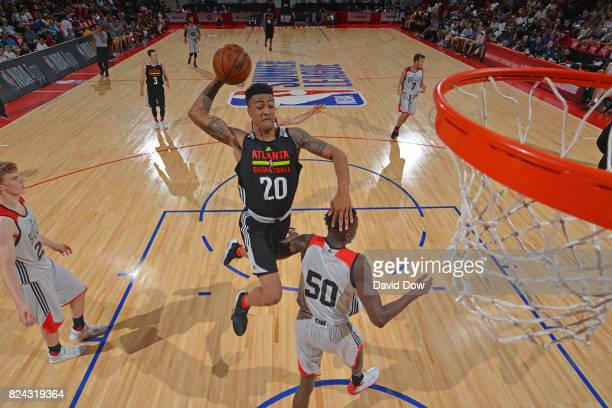 John Collins of the Atlanta Hawks goes for a dunk during the game against the Chicago Bulls during the 2017 Las Vegas Summer League on July 10 2017...