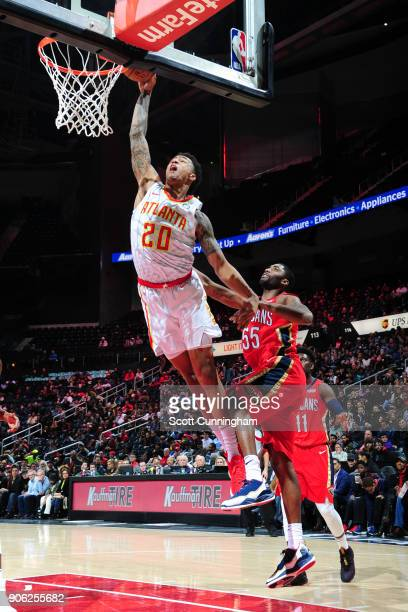 John Collins of the Atlanta Hawks goes to the basket against the New Orleans Pelicans on January 17 2018 at Philips Arena in Atlanta Georgia NOTE TO...