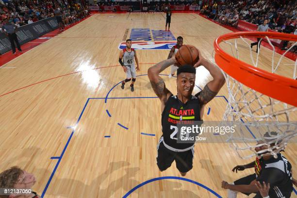 John Collins of the Atlanta Hawks goes up for a dunk against the Chicago Bulls during the 2017 Las Vegas Summer League on July 10 2017 at the Cox...