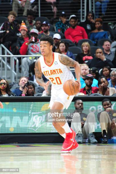 John Collins of the Atlanta Hawks handles the ball against the Detroit Pistons on December 14 2017 at Philips Arena in Atlanta Georgia NOTE TO USER...
